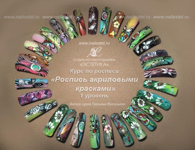 Роспись ногтей акриловыми красками пошагово для начинающих
